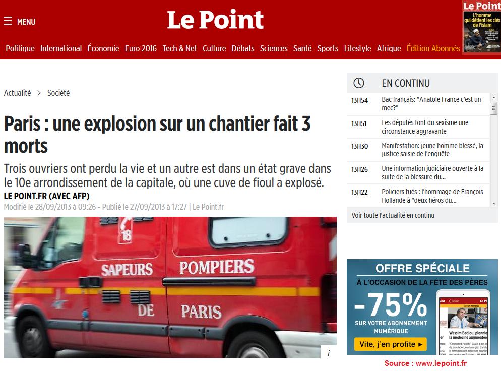 Explosion d'une citerne à mazout : 3 morts